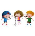 three kids singing on microphone vector image