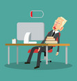 tired businessman with desktop computer and coffee vector image vector image