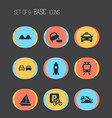 transport icons set with rocket velocipede vector image vector image