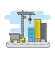 truck construction crane building street city vector image vector image