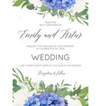 wedding invite card design with hydrangea flowers vector image
