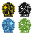 Camping logo day and night Landscape with tent and vector image