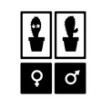 cute icons for toilet room with cactuses in vector image