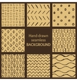 Set of hand-drawn hipster sketch seamless patterns vector image