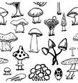 Set of silhouettes cute cartoon mushrooms on white vector image