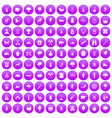 100 forest icons set purple vector image vector image