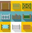 architecture fences icon set flat style vector image vector image