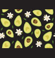 avocado sliced seamless pattern with flower on vector image vector image
