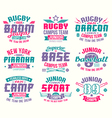 Baseball and rugby college team sport emblems vector image