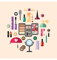 Beauty store with cosmetic objects vector image vector image