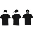 black baseball cap and t shirt vector image vector image