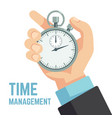 businessman hand holding stopwatch or clock vector image