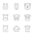camping backpack icon set outline style vector image vector image