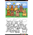 cartoon funny dogs group coloring book page vector image vector image