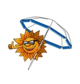 Cartoon sun character with umbrella vector image vector image