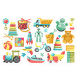 childish toys from kindergarten bear and pyramid vector image vector image
