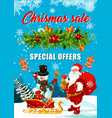 christmas sale offer banner with santa and gift vector image