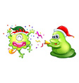 Christmas theme with two aliens in party hats vector image vector image