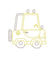 color line kawaii smile tractor vehicle transport vector image