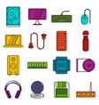 computer icons doodle set vector image