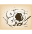 cup of coffee and donuts vector image