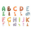 cute zoo alphabet with cartoon animals isolated vector image vector image