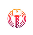 cyber security icon key in microcircuit circle vector image vector image