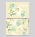decorative card flowers painted in watercolor hand vector image vector image