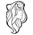 decorative portrait of shaman girl with long hair vector image vector image