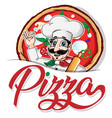 Emblem funny italian chef on pizza background