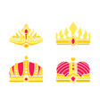golden heraldic crowns inlaid with gems vector image vector image