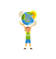 green planet and cute happy boy save the planet vector image vector image