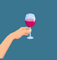 hand holding a glass red wine template vector image vector image