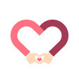 hand sign language heart symbol shape set vector image