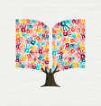 hand tree concept in book shape for education vector image vector image