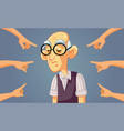 hands pointing to a sad senior man vector image vector image