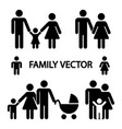 happy family logos isolated on white background vector image vector image