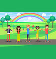happy people hold hands celebrate environment day vector image