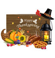 happy thanksgiving card hat candle vector image