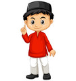 indonesian boy in red shirt vector image vector image