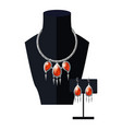 jewelry set necklace precious red stones on black vector image