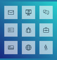 job icons line style set with work man chatting vector image vector image
