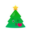 kissing christmas tree isolated emoticon vector image