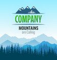 logo with silhouette forest and mountains of vector image vector image