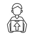 man delivery box icon outline style vector image