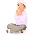 muslim boy praying vector image vector image
