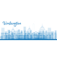 Outline Washington DC City Skyscrapers in blue vector image