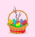paschal wicker basket with easter eggs vector image vector image