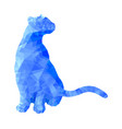 poly animal cat sitting in blue polygonal abstract vector image