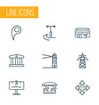 public skyline icons line style set with vector image vector image